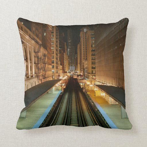 Chicago 'L' Station at Night Throw Pillows