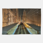 Chicago 'L' Station at Night Towel