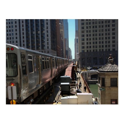 Chicago L train heading into the Loop Post Card