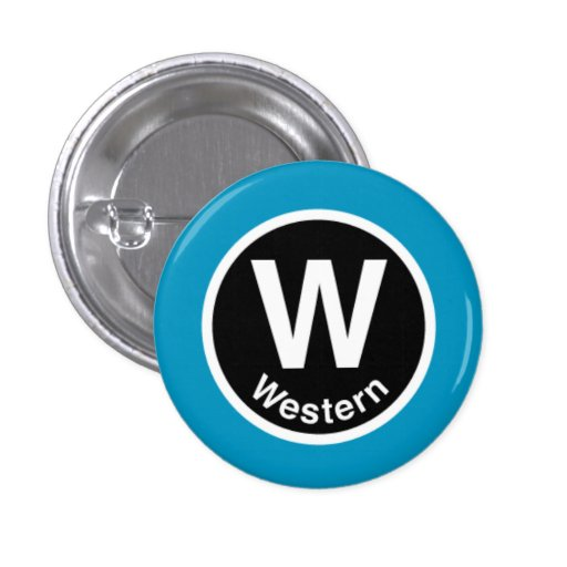 Chicago L Western Blue Line Pinback Button