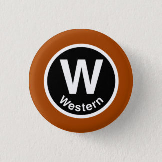 Chicago L Western Brown Line Button