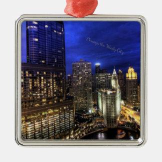 Chicago, la ciudad ventosa adorno navideño cuadrado de metal