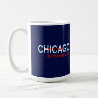 Chicago la ciudad ventosa, diseño de la bandera de taza clásica