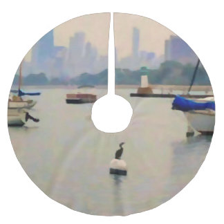 Chicago Lake By The City Brushed Polyester Tree Skirt