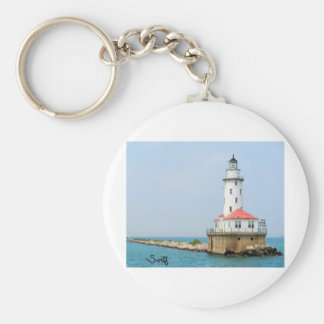 Chicago Lighthouse Basic Round Button Keychain