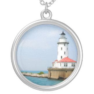 Chicago Lighthouse Round Pendant Necklace