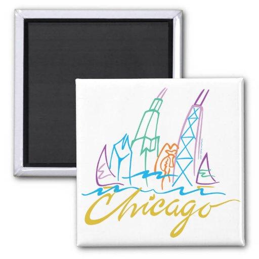 Chicago Line Syline Fridge Magnet
