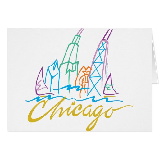 Chicago Line Syline Greeting Cards