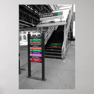 CHICAGO LOOP EL TRAIN STATION POSTER