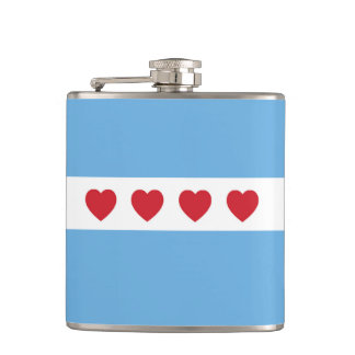 Chicago Love Vinyl Wrapped Flask