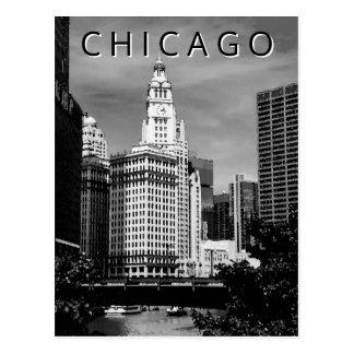 Chicago LT Wind City Watercolor Black White Postcard
