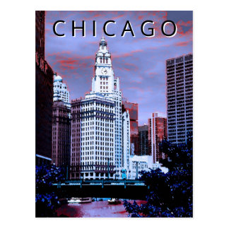 Chicago LT Wind City Watercolor Paint Art Postcard