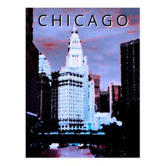 Chicago LT Wind City Watercolor Vintage Art Postcard