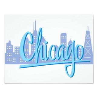 """Chicago-Luz-Azul Invitación 4.25"""" X 5.5"""""""