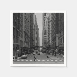 Chicago Madison Street Grayscale Paper Napkin