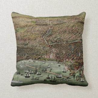Chicago Map 1892 Throw Pillow