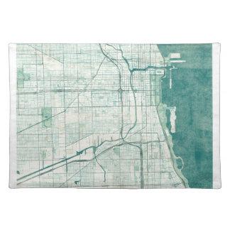 Chicago Map Blue Vintage Watercolor Cloth Placemat