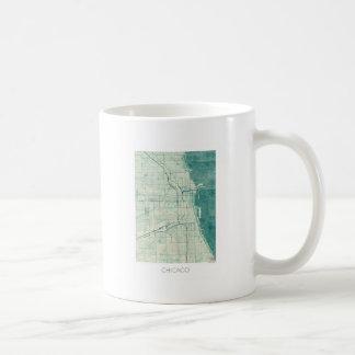 Chicago Map Blue Vintage Watercolor Coffee Mug