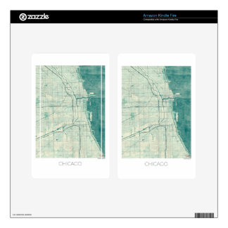 Chicago Map Blue Vintage Watercolor Decal For Kindle Fire