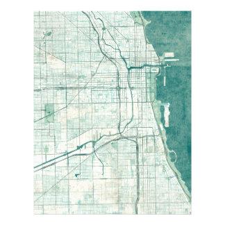 Chicago Map Blue Vintage Watercolor Letterhead