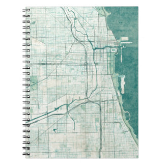 Chicago Map Blue Vintage Watercolor Notebook