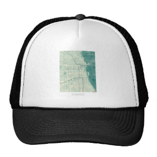 Chicago Map Blue Vintage Watercolor Trucker Hat