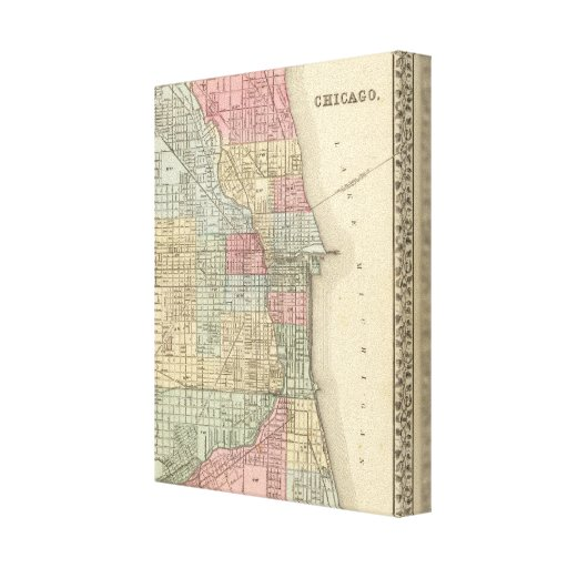 Chicago Map by Mitchell Gallery Wrapped Canvas