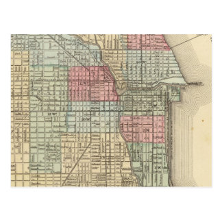 Chicago Map by Mitchell Postcard
