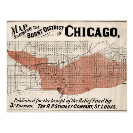 Chicago Map from 1871 after fire Restored Postcard