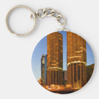 Chicago Marina Towers Basic Round Button Keychain