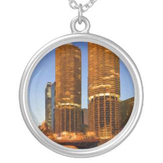 Chicago Marina Towers Round Pendant Necklace