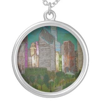 Chicago Michigan Ave Round Pendant Necklace