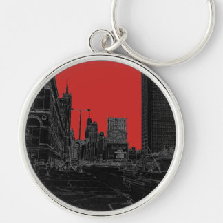 Chicago Michigan Avenue 1960's Glowing Edges Black Keychain