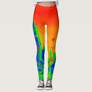 Chicago Michigan Avenue @ Night 1967 Neon Colorful Leggings