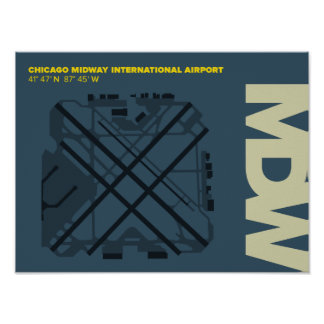 Chicago Midway Airport (MDW) Diagram Poster