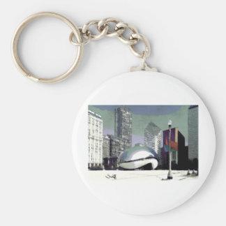 Chicago Millennium Park Basic Round Button Keychain
