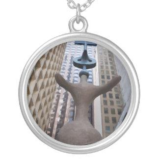 Chicago Miro Sculpture Round Pendant Necklace