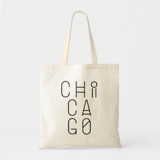 Chicago Modern Geometric Typography Tote Bag