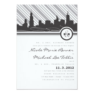 "Chicago Monogram Wedding Invitation 5"" X 7"" Invitation Card"