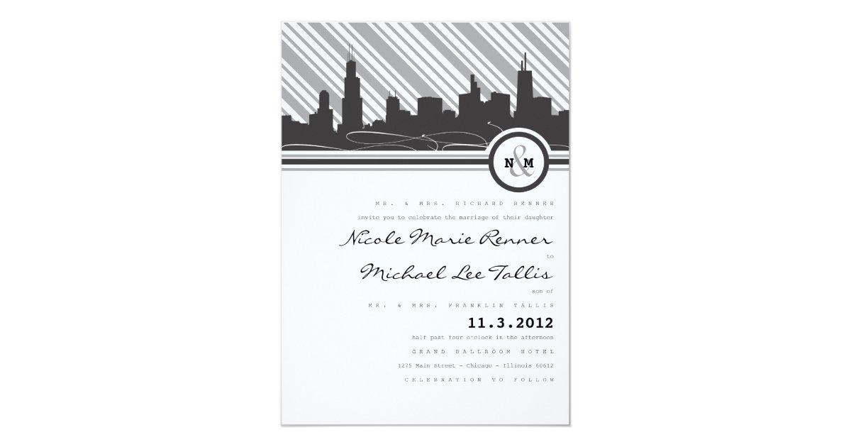 chicago monogram wedding invitation zazzle