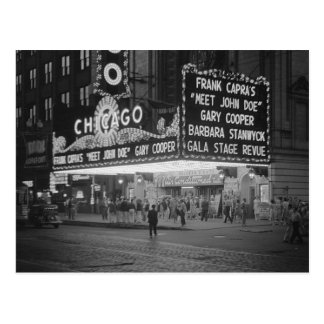 Chicago Movie Theater at Night, 1941 Postcard