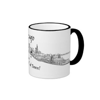 Chicago My Kind of Town shoreline view drawing Coffee Mugs