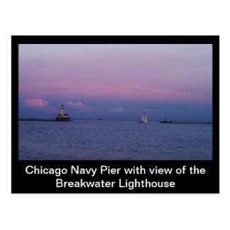 Chicago Navy Pier and Lighthouse Postcard