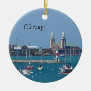 chicago navy pier ceramic ornament - Chicago Christmas Ornaments