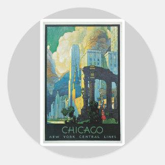 Chicago New York Central Lines Vintage Classic Round Sticker