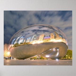 Chicago Night Bean Reflection Print