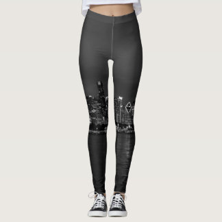 Chicago Night Cityscape Grayscale Leggings
