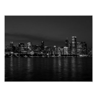 Chicago Night Cityscape Grayscale Poster