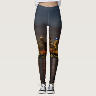 Chicago Night Cityscape Leggings