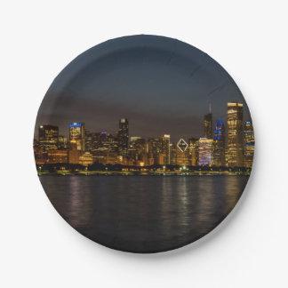 Chicago Night Cityscape Paper Plate